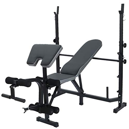 Voberry Adjustable Weight Bench, Multifunctional Workout Station Adjustable Olympic Workout Bench with Squat Rack, Leg Extension, Preacher Curl, and Weight Storage, 750-Pound Capacity (Black)
