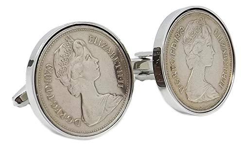 Cufflinks Direct 1979: Große Fünf-Pence-Münzen in Einer Silberplatte mit 39-jährigen Geschenkmanschettenknöpfen für Herren (Manschettenknöpfe mit Geschenktüte)