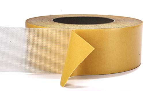 Double-Sided Carpet Tape - 91 Feet Long, 2 Inches Wide - Adhesive Keeps Rugs in Place on Carpet, Hardwood, Tile, Linoleum - Easily Removable with No Residue (90 Feet, 30 Yards, 28 Meters)