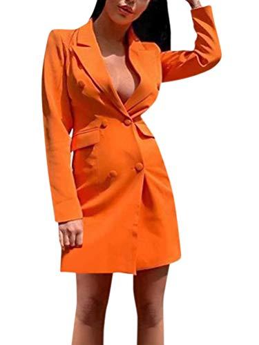 ORANDESIGNE Femme Manche Ronde Manches Longues Col à Code Vestimentaire Mini Robe d'automne à Chic Robe DéContractéE Robe d'Affaire Mi-Longue Crayon Vintage Cocktail Soirée C Orange 42