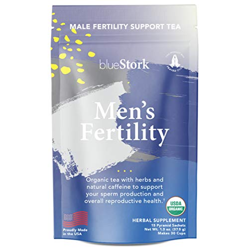 Blue Stork Fertility Tea: Mint Tea for Male Reproductive Health, USDA Organic, Green Tea + Turmeric, 30 Cups