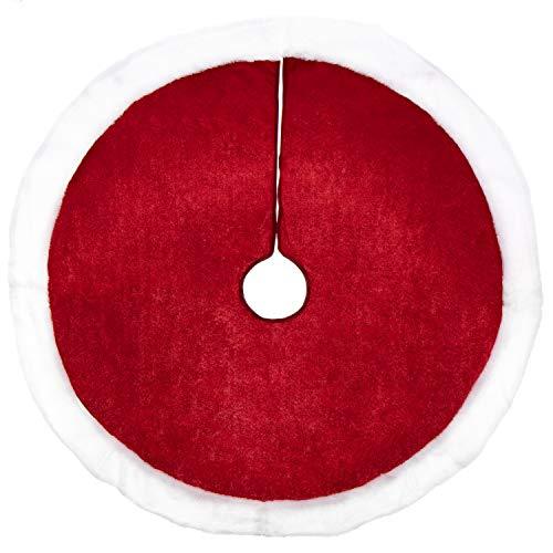 com-four® Weihnachtsbaumdecke zum Schutz vor Tannennadeln - runde Christbaumdecke für den Weihnachtsbaum - Unterlage mit Weihnachtsmotiv (001 Stück - rot/weiß)