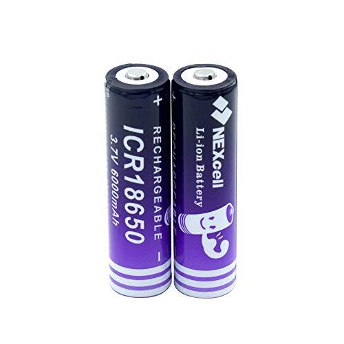 2 Stück 18650 Batterie 3,7V 6000mAh18650 Liion Lithium Batterie für LED Taschenlampe Torch Mini Fan Batterie Li-Ionen Batterie