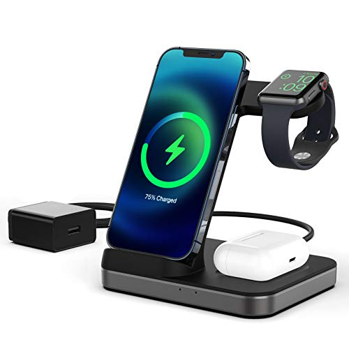 Boaraino Fast Wireless Charger, 3 in 1 Kabellose Ladestation für Apple Watch 6/SE/5/4/3/2, Airpods 2/Pro, iPhone 12/12 Pro/12 Pro Max/11/11 Pro/X/Xr/Xs/8 Plus/8, Samsung Galaxy S20(Mit QC 3.0 Adapter)