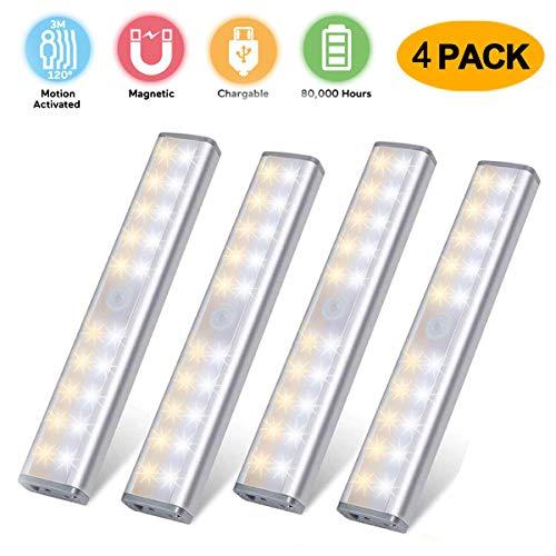 LED Bewegungsmelder Schrankbeleuchtung, 20 LED kabellose aufladbare USB-Küchenleuchten, batteriebetriebenes Licht, abnehmbare magnetische Aufsteckleuchten für Kleiderschrank, Schrank