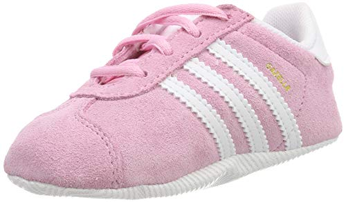 adidas Gazelle Crib, Zapatillas Unisex bebé, Rosa (True Pink/Footwear White/Gold Metallic 0), 19 EU