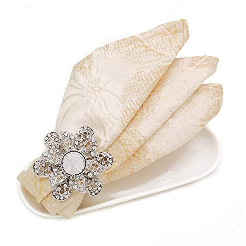 Handmade Napkin Rings Napkin Rings Set of 6, Dinner Napkin Buckle Holder, Creative Party Gatherings Wedding Table Decor Holder for Dinning Table Parties Everyday (Color : Silver, Size : One szie)