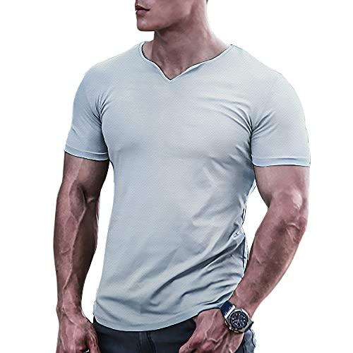 Muscle Alive Hombre Camisetas atléticas de Culturismo para de Secado rápido para músculos Gimnasio Entrenamiento Tops Gris L