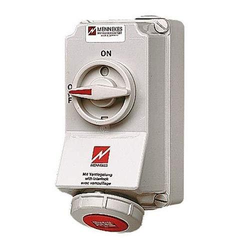 Mennekes (Unternehmen) 101100017Grundlagen CEE mit Schalter und ineinander greifenden, Steckdose, 400V, 50–60Hz, 16A, 5-polig, IP 67, rot