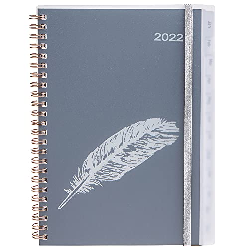 YHH 2022 Diary A5 Week to View, Spiral Weekly Planner with Monthly Tabs Back Pocket, Elastic, Plus Calendar Monthly Overview Contact Note Budget, Personal Organiser Life Book Academic Diary, Feather