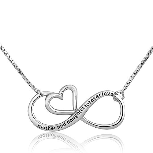 CharmSStory Mothers Day Mother Daughter Forever Love Infinity Sterling Silver Heart Necklace Pendant...