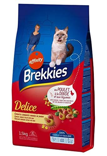 Brekkies Delice Katzen gefüllten Kroketten Crunchy Ham © es im Huhn Türkei und La © Gumes 1.5kg (3er-Pack) 1