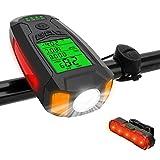 Furado Led Luces Bicicleta Recargable USB,velocímetro, Luz Delantera Y Trasera Impermeable Súper Brillante para Bicicleta De Carretera Y Montaña, Seguridad Nocturna