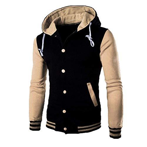 BEIXUNDIANZI Männer Mode Schüler Outwear Patchwork Pullover Winter Herbst Schlank Hoodie Warm Kapuzenpulli Mantel Jacke Sportbekleidung Khaki 3XL
