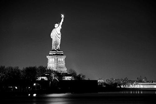 Bilderdepot24 Fotomural Estatua de la Libertad, Ciudad de Nueva York - Negro y Blanco 150x100 cm - Papel Tejido-no Tejido. Fotomurales - Papel Pintado - la fabricación Made in Germany!