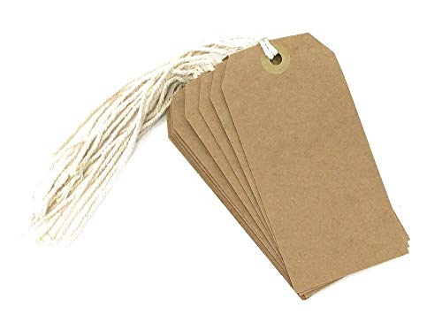 Large Tie On Luggage/Storage Card Tags with String - Brown Card - Pack of 10 Tags - Size 120Mm X 60Mm