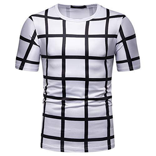 MENHG Men's Black White Plaid T-Shirt Comfortable Fashion Golf Stripe Round Neck Tank Tops Sweatshirt Men Short Sleeve Summer Novelty Slim Fit Golf Cotton Basic Breathable Quick Dry Tee Shirts