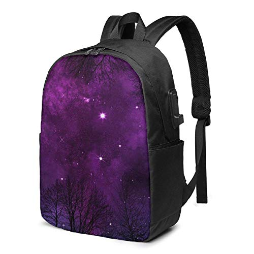 XCNGG Night Forest Printed Travel Lightweight Backpack with USB Charging Port & Headphone Port