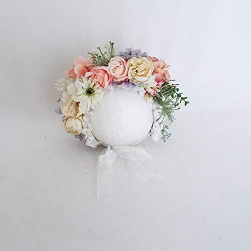 ZHFFYY Vintage Flower Garden Bonnet for Photography Shoot Newborn Girl Hat Handmade Knit Floral Bonnet Photo