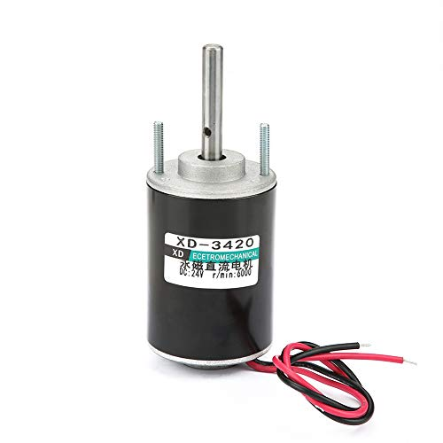 12V/24V 30W CW/CCW Permanent Magnet DC Motor Reversible Electric Gear Motor High Speed Low Noise for DIY Generator XD-3420 (24V 6000RPM)