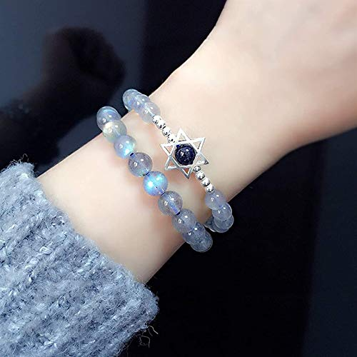 Pulsera de cristal natural Estrella de David Feng Shui Bracelet 7a Moonstone Blue Sandstone Hexagram Pure Silver Charm Luck-Turn-En-Your-Favor Bead Ying Energy Healing Chakra Gema Amuleto Talisman Uni