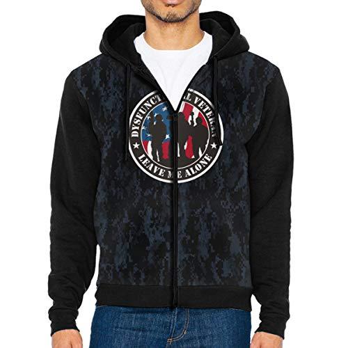HUIHUANGm Dysfunctional Veteran Men's Full-Zip Hooded Sweatshirt Pullover Hoodie Casual Hoodie with Pockets Black