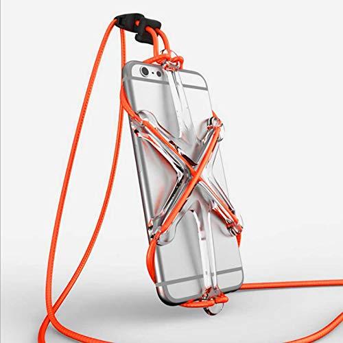 Estuche deportivo con correa elástica para teléfono celular, Estuche universal con correa para el cuello y cubierta de silicona elástica para teléfono celular (Orange)