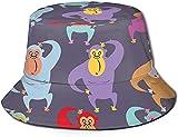 Sombreros unisex al aire libre con visera ancha para protección solar Fisherman Caps con patrones de arte de la pared de graffiti, gorila, rojo y morado