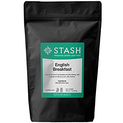 Stash Tea English Breakfast Loose Leaf Tea 16 Ounce Loose Leaf Premium Black Tea for Use with Tea Infusers Tea Strainers or Teapots, Drink Hot or Iced, Sweetened or Plain