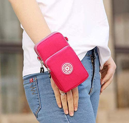 Canvas Fabric Cellphone Mini Crossbody Bag Carrying Pouch Wallet Purse for Samsung Galaxy Note 9 / S9 Plus / J8 / A8 / iPhone X/iPhone 8 Plus/OnePlus 6 / Alcatel 7 / 5V / Nokia 6.1 Plus (Pink)