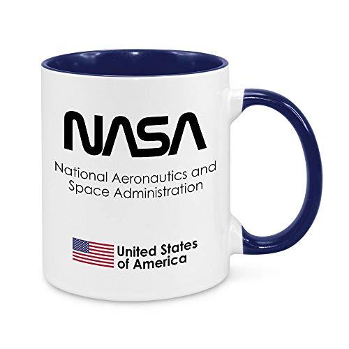 Tolletasse, NASA Wurm Logo, Kobaltblau, Tasse mit Spruch, Space Weltall Science