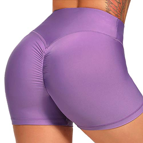 FITTOO Pantalones Cortos Leggings Mujer Mallas Yoga Alta Cintura Elásticos Transpirables #1 Morado Claro S