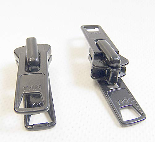 YKK Zipper Pull Tab Sliders Boat Canvas #10 Vislon Double Metal Pull Tab Zipper Sliders, 2 Piece Set - Black