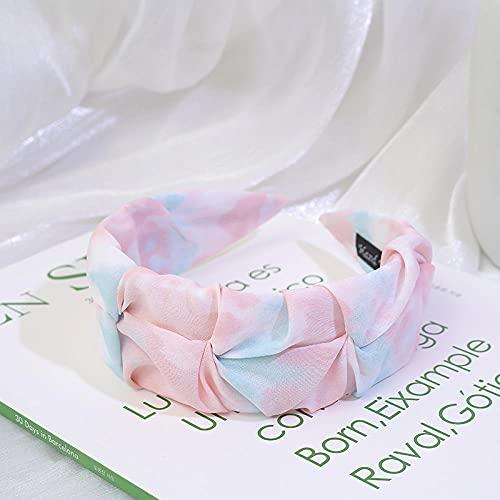 Fuduoduo Impresa Nudo De Moda Diadema,Diadema de Ancho Plisado Retro-Rosa,Turbantes para Mujer Cabello Hair Band