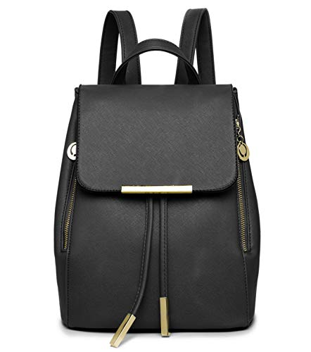 WINK KANGAROO Fashion Shoulder Bag Rucksack PU Leather Women Girls Ladies Backpack Travel bag (small black)