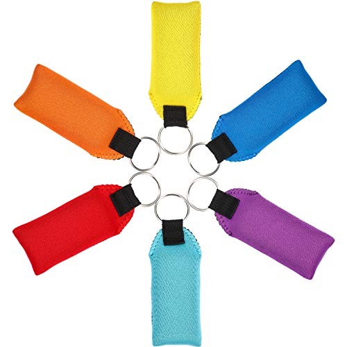 6 Pieces Foam Floating Keychain Neoprene Boat Keychain Waterproof Foam Keychain (Yellow, Red, Blue, Purple, Orange, Cyan)