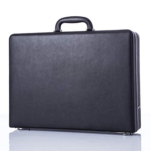 Business Leather Mens Briefcase for Travel Vintage Outlook Organized Interior Hard-Sided Attaché Cases- Black