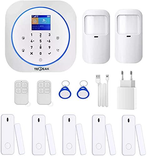 Sistema di Allarme Domestico Senza Fili, TecPeak Kit di Allarme WiFi/GSM con Sicurezza Sirena Fornisce un Modo Altamente Efficace per Proteggere il tuo Casa e Ufficio (A1 Bianca)