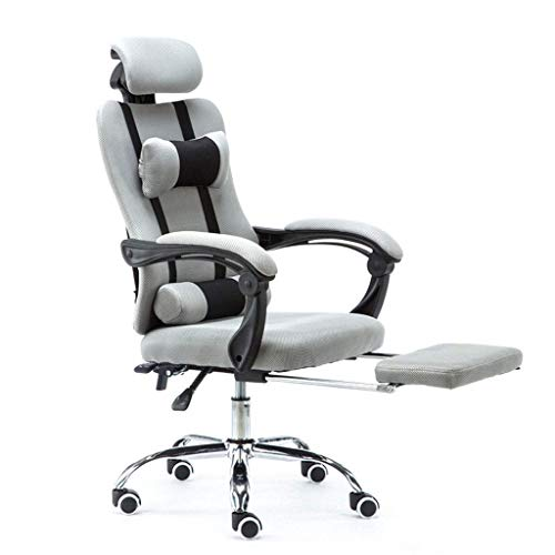 N/Z Daily Equipment Chaise Ergonomic Mesh Office Chair High Back Computer Chair Desk Chair Home Mesh Task Chair with Thick Cushion Padded Adjustable Headrest and Armrests(Footrest)Grey
