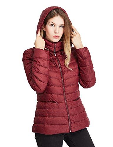 Lotus Dew Women's Down Jacket Packable Coat with Zipper Hood and Pockets …