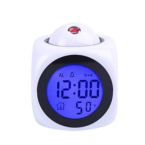 Reloj Despertador Analógico Sin Tictac Reloj Despertador Silencioso con Luz Nocturna Y Función De Repetición Agujas Iluminadas Despertador Fácil De Leer A Pilas (Color : White)