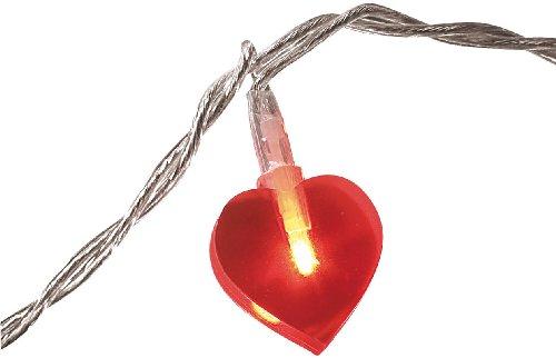 Lunartec Herzlichterkette: Motiv-Lichterkette Love, 20 rote Herzen, 3m (Lichterkette Herzform)