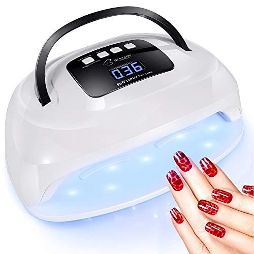 Nageltrockner Lampe 96W BESTOPE LED/UV Nagellampe für Gel Nagellack Professionelle Lampe mit 4 Timer Infrarot Sensor Nail dryer lamp für Shellac + Gel Nägel, Fingernägel und Zehennägel