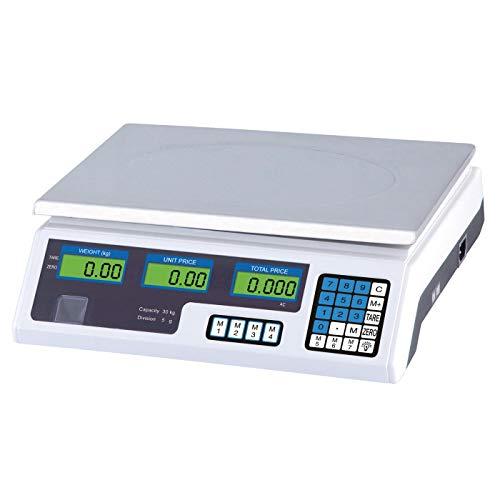 Ryom Tischwaage Digitalwaage mit Preisrechner & Tarafunktion, 230V Netzkabel, inkl. aufladbarer Batterie, bis 30 kg, 5 g Schritte, Toleranz 1/3000, ISO9001 CE Zertifiziert