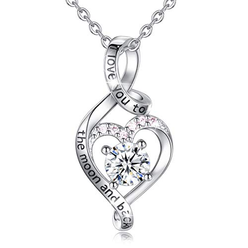 Heart Sterling Silver Necklace for Women CELESTIA CZ Heart Pendant I Love You to The Moon and Back Necklaces, Birthday Gifts - 18' chain