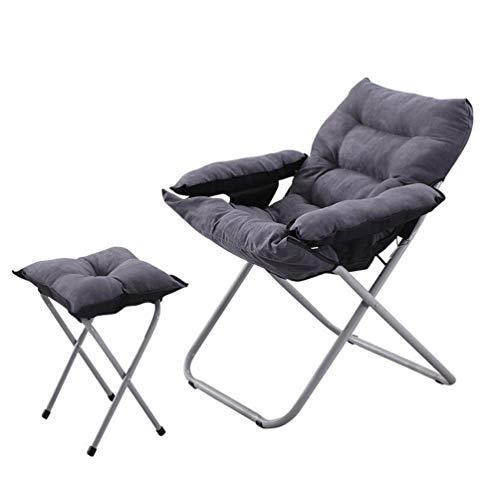 JYKJ schommelstoel, opvouwbare luie stoel home lounge stoel, luie bank 3 speed verstelbare grijze stoel enkele mini computer stoel slaapkamer slaapzaal afneembare kussen stoel