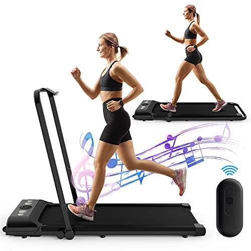 Laufhome Treadmills For Home Foldable, 2 in 1 Folding Treadmill Running Machine with Bluetooth Speaker, Phone Holder & Remote Control, Low Noise & Knee Protection