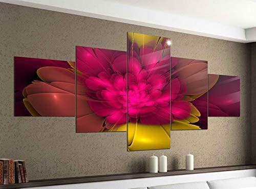 Acrylglasbilder 5 Teilig 200x100cm 3D Effekt Blume rosa gelb Hintergrund abstrakt Kunst Textur Muster Druck Acrylbild Acryl Acrylglas Bilder Bild 14F610