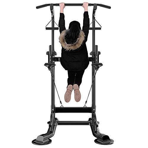 Krachttoren als dipstation, krachttoren & gymtoren, multifunctionele krachtcentrale voor thuis met pull-up bar, push-up grips touwen & stroppen, sit-ups