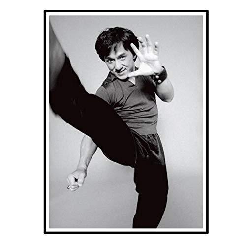 Swarouskll Póster en blanco y negro de Jackie Chan, pintura en lienzo para decoración del hogar, imágenes impresas en lienzo, 50x70 cm, sin marco, 1 Uds.